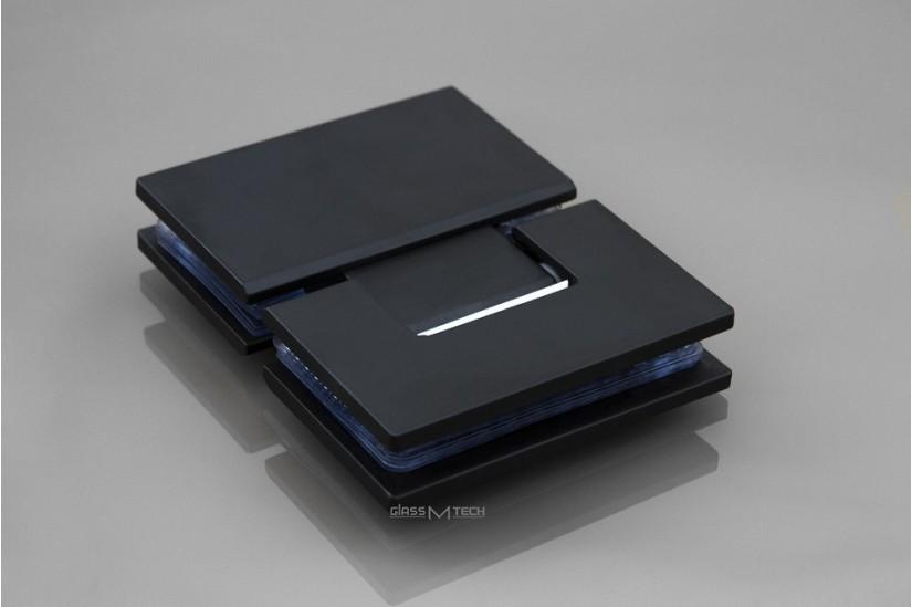 Петля G111A без фаски, стекло/стекло, 180°, Black