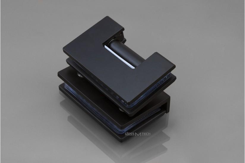 Петля G113A без фаски, стекло/стекло, 90°, Black